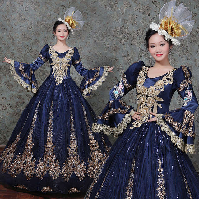 Dark Blue Marie Antoinette Ball Gown Dress Renaissance Dress Historical  Period Costumes include Headdresses