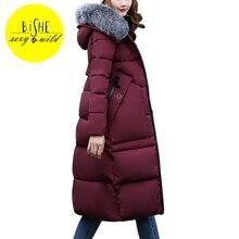 Mulheres Casaco de Inverno 2017 Gola De Pele Falso BiSHE Longo Fino Zipper Bolso Amassado Mulheres Jaqueta Com Capuz Quente Grossa Da Mulher jaquetas
