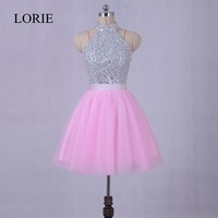LORIE Party Dresses Pink Short Prom Dresses 2017 Real Photo Vestidos Festa Curto High Neck Homecoming