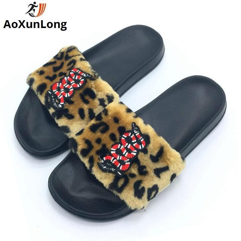 AoXunLong New Flip Flop Cute izšūšana čūska kažokādas čības - Sieviešu apavi