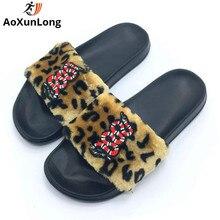 AoXunLong Új Flip Flop Aranyos Hímzés Kígyó Szőrme Papucsok Női Slides Főoldal Papucs Rózsaszín 36-41 Tongs Femme ete Női Papucsok