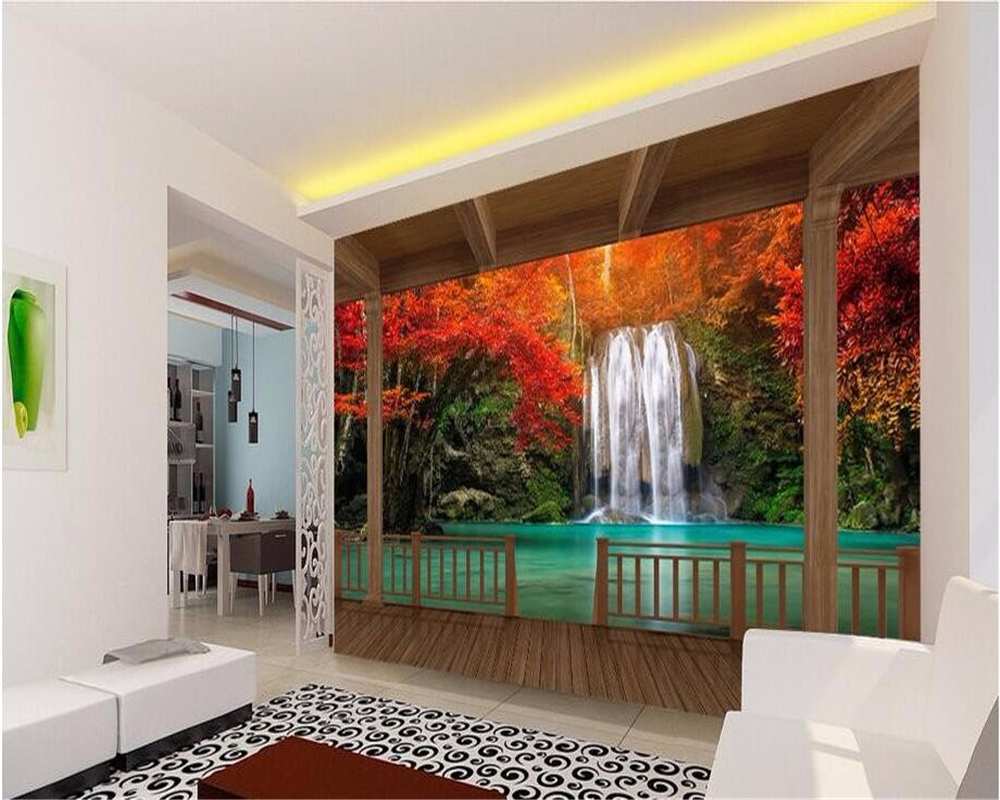 Beibehang HD marco de madera rojo hoja de arce cascada foto ...