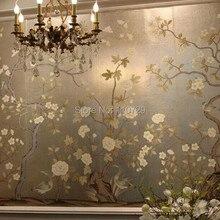 Ручная роспись серебряной фольги обои живопись цветы с птицами ручная роспись обои уникальные обои много фотографий вариант