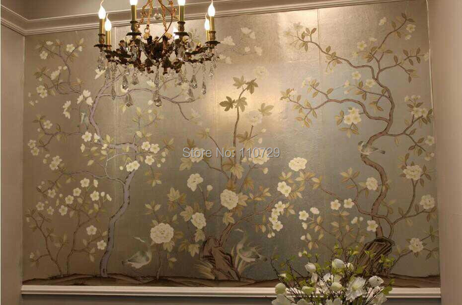 Hand painted silver foil  wall paper painting flowers with birds HAND PAINTED wallcovering unique wallpaper many pictures option