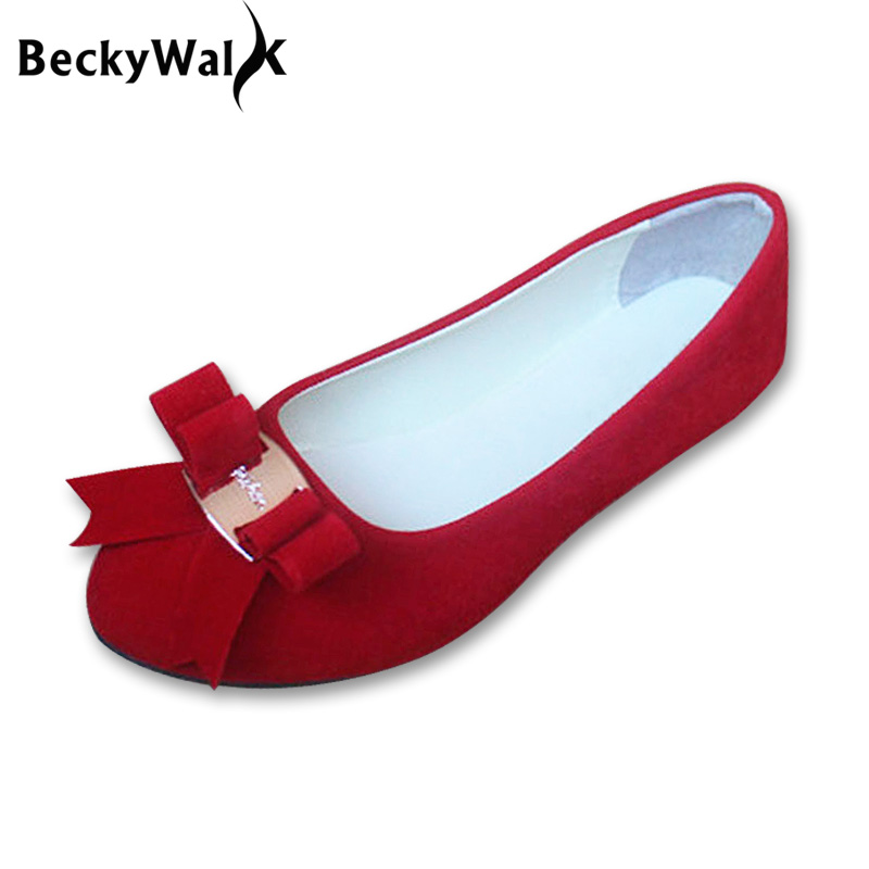 Plus Size Flat Shoes Woman Fashion Bow Big Size Women Flats Shallow Mouth Women's Shoes for Spring Autumn Size 35-43 WSH2345 цены