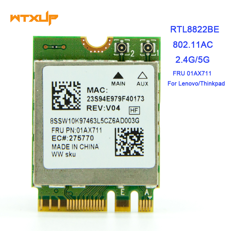 US $14 5 |Original Realtek 8822BE RTL8822BE NGFF 802 11ac 2 4G/5GHz  Wireless Wifi Card+Bluetooth 4 1 FRU: 01AX711 For Thinkpad L470 L570-in  Network
