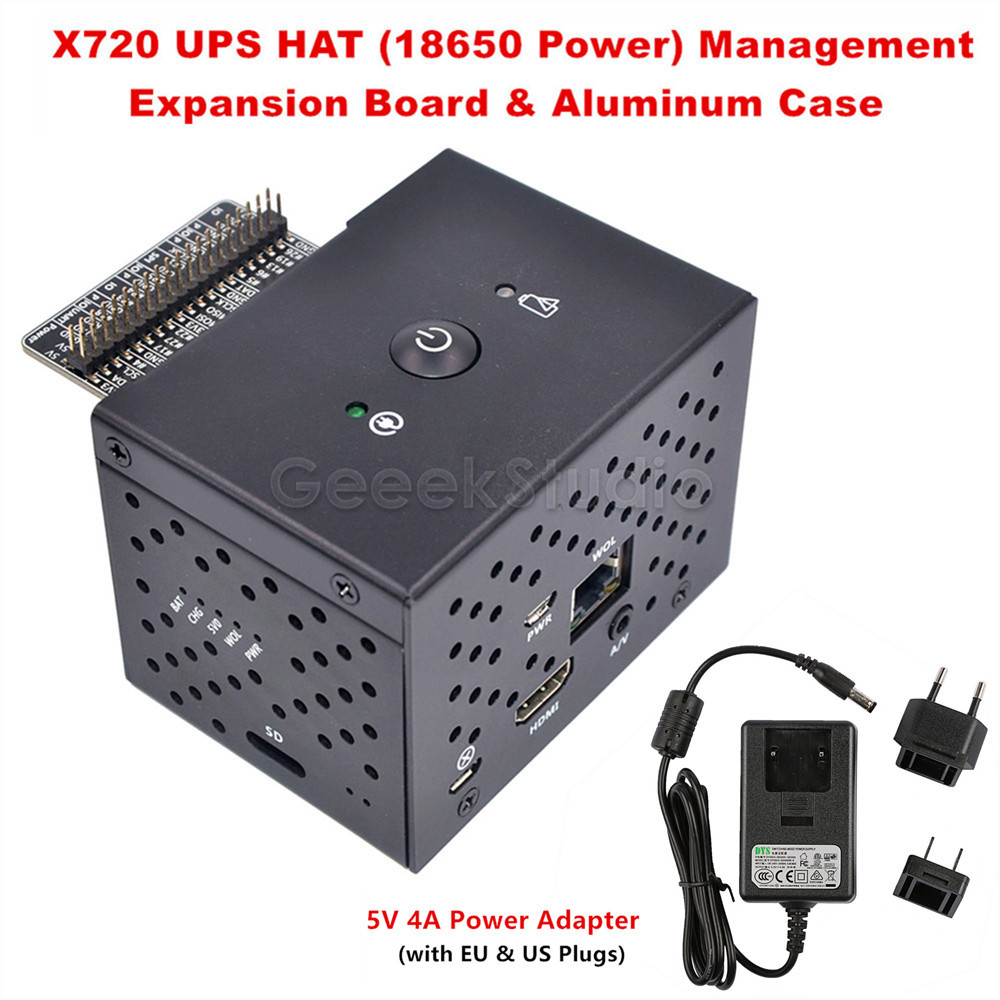 Raspberry Pi X720 Power Management UPS HAT 18650 Power Safe Shutdown Wake on Lan Expansion Board