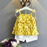 女の子服フリルスイングトップタンクホワイトショーツ二枚子供女の子扮夏プリント花ツリーパターン小売卸売