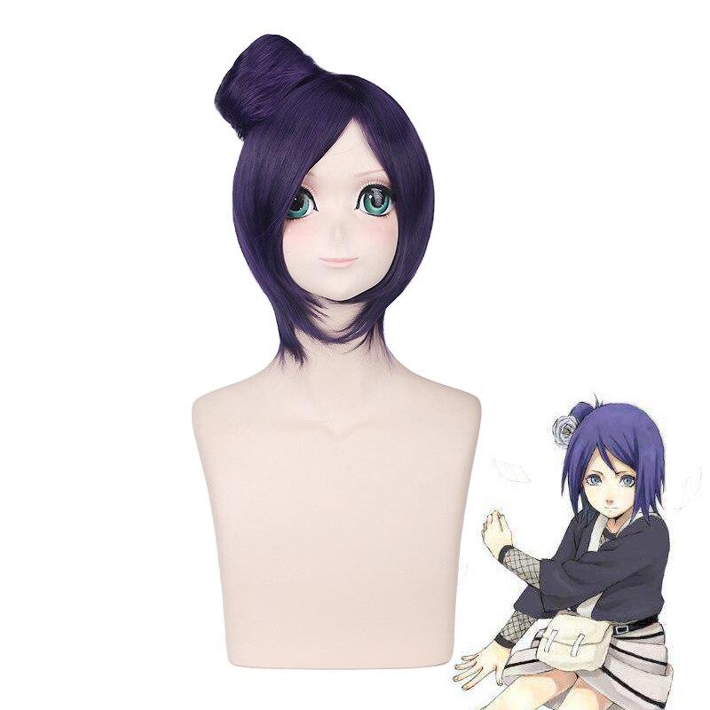NARUTO Akatsuki Konan Women Dark Purple Short Wig With Bun Chignon Cosplay Costume Heat Resistant Synthetic Hair Party Wigs