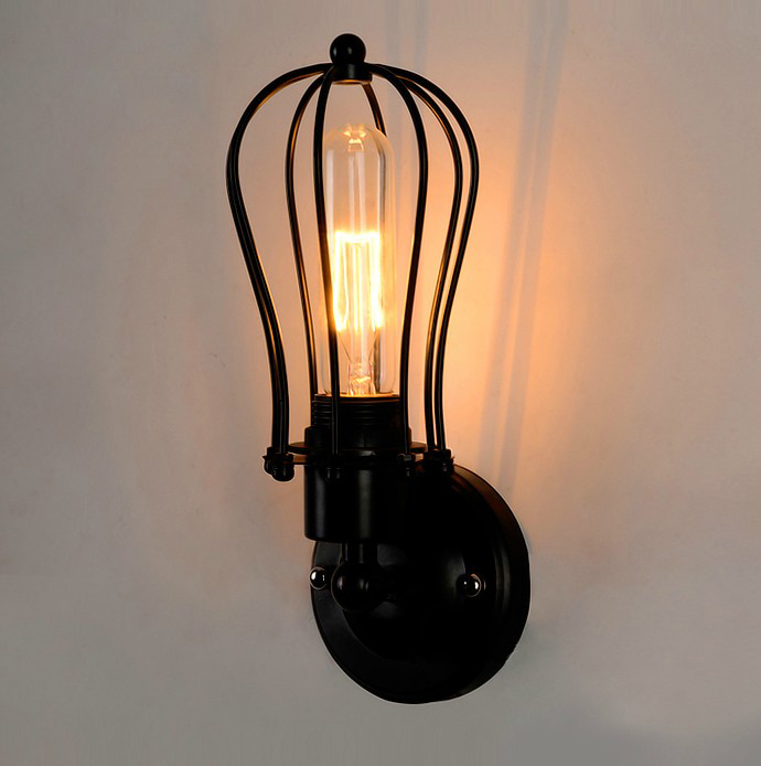 ФОТО American country iron wall mirror light bar balcony bedroom bedside loft retro grapefruit lamp industry
