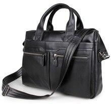 Quality Classic Vintage Genuine Cow Leather Men's Black / Coffee Briefcase Portfolio Handbag Laptop Bag Messenger Bags #MD-J7122