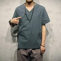 Camisas Masculina The Original Short Sleeved Summer Shirt Mens Size Loose Linen Placket, Chinese Surplices Oblique Wind Hanfu