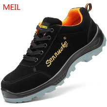 Men Steel Toe Safety Shoes for Men Fashion Cow Leather Hiking Boots Construction Work Shoes Men Footwear Ankle Safety Boots цены онлайн