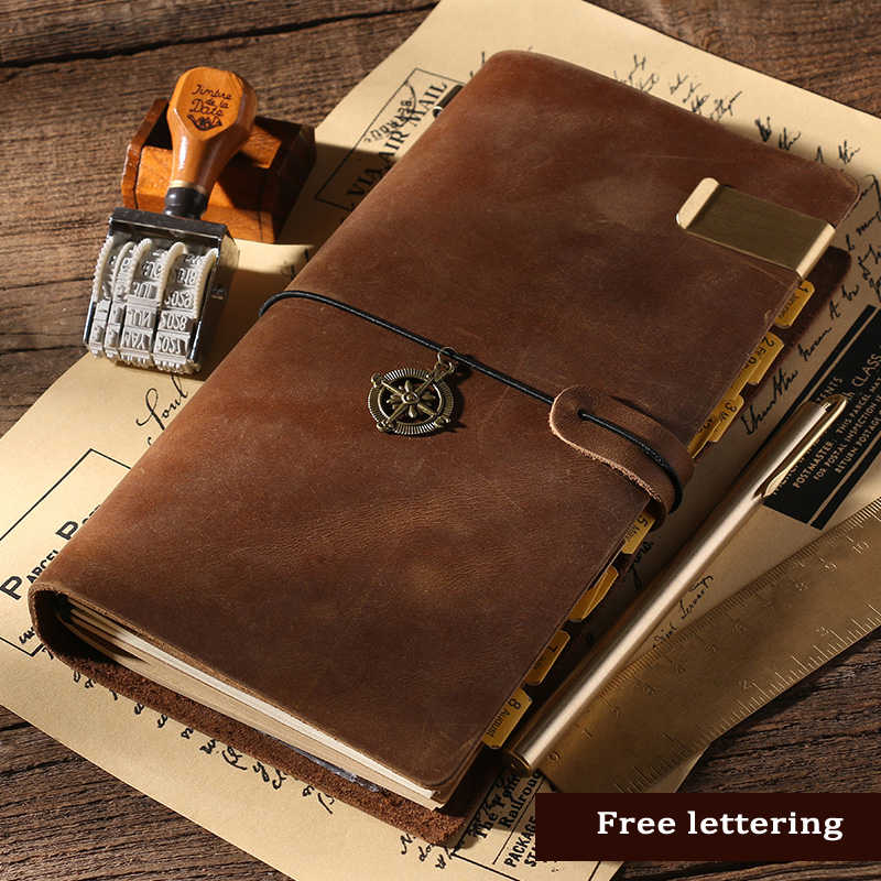100% Genuine Leather Notebook Handmade Vintage Cowhide Diary Journal Sketchbook Planner Stationery Gift Traveler  Free lettering