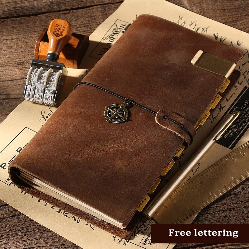 100% Caderno De Couro Genuíno Handmade Do Couro Do Vintage Diário Sketchbook Jornal Planner Papelaria Presente Viajante lettering Livre