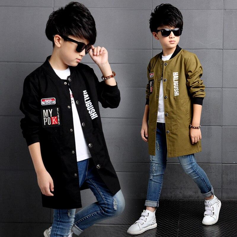 Куртки для мальчиков, бейсбольные пальто с буквенным принтом, одежда для мальчиков, Детская верхняя одежда, длинный тренч на весну и осень 2018, топы для мальчиков подростков, От 6 до 14 лет|Куртки и пальто| | АлиЭкспресс