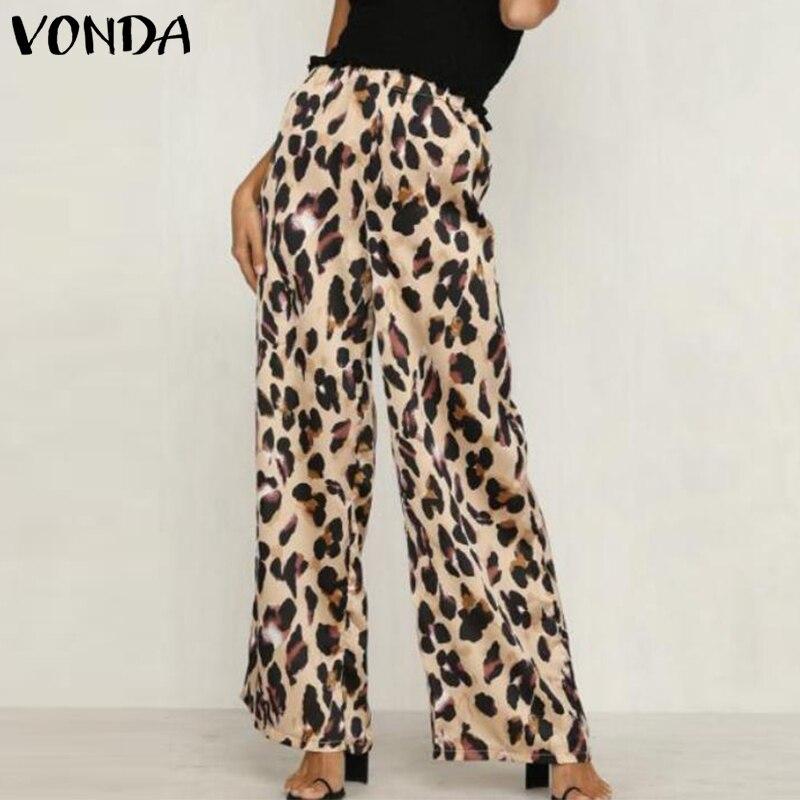 VONDA Leopard Print   Pants   Women 2019 Autumn Elastic Waist   Wide     Leg     Pant   Streetwear Casual Trousers Office Lady Plus Pantalon 5XL