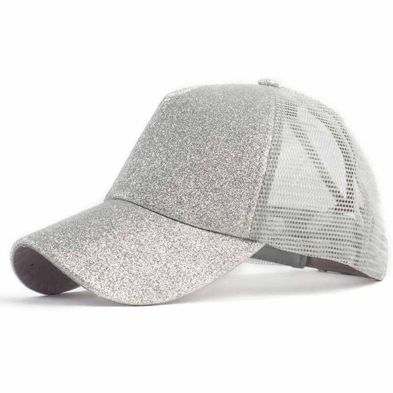9428f0ae7f5 ... Women s Hat Glitter High Ponytail Hole Cap 5 Panel Mesh Trucker  Baseball Cap Gold Silver White ...