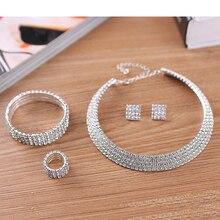 2-5 Rows Rhinestone Crystal Wedding Jewelry Set Bridal Necklace Earrings Bracelet & Ring Set Hot Sale 2017