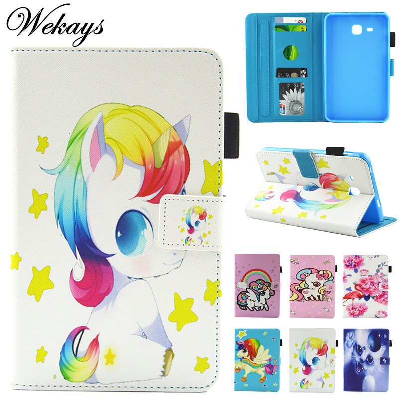 Wekays For Samsung Tab A 2016 T280 Cute Cartoon Unicorn Leather Case For Samsung Galaxy Tab A A6 7.0 T280 T285 Tablet Cover Case 2016 new arrival leather case for samsung galaxy tab a a6 7 0 t280 t285 sm t280 cases cover tablet funda hand holder business