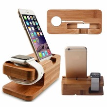 цена на 2-in-1 Real Bamboo wood Desktop Stand for iPad Tablet Bracket Docking Holder Charger for iPhone Charging Dock for Apple Watch