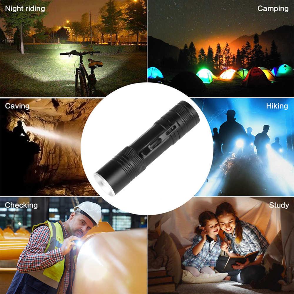 جديد مصباح ليد جيب القلم كليب مصباح يدوي قوي XHP50 LED الشعلة زوومابلي الشعلة USB مصباح يدوي قابل لإعادة الشحن بواسطة 18650 بطارية