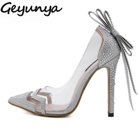 Women Rhinestone Crystal PVC Clear Court Dress Wedding Bridal Shoes Bowtie Butterfly Knot Sandals Pumps Silver