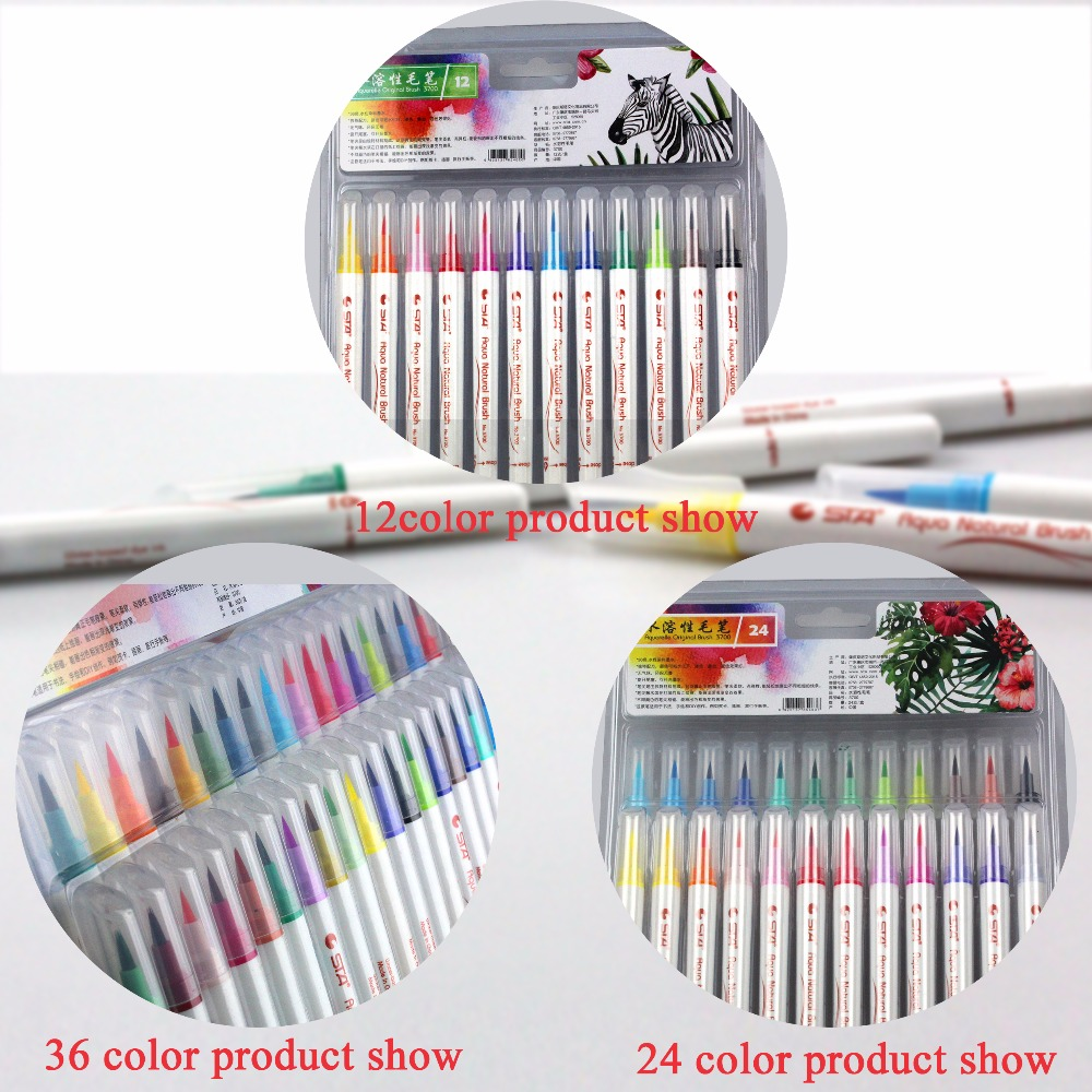STA 3700 Water Solubility Brush 12/24/36 Colors Aquarelle Pen Sketch Art Marker touchnew 60 colors artist dual head sketch markers for manga marker school drawing marker pen design supplies 5type