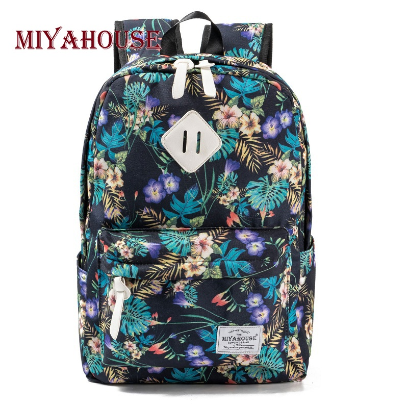 Miyahouse Preppy Style Female Backpacks Vintage Floral Print Bookbags Canvas School Bag For Teenager Girls Travel Rucksack miyahouse preppy style canvas school backpack for teenager girls cute unicorn printed school bag female travel bag