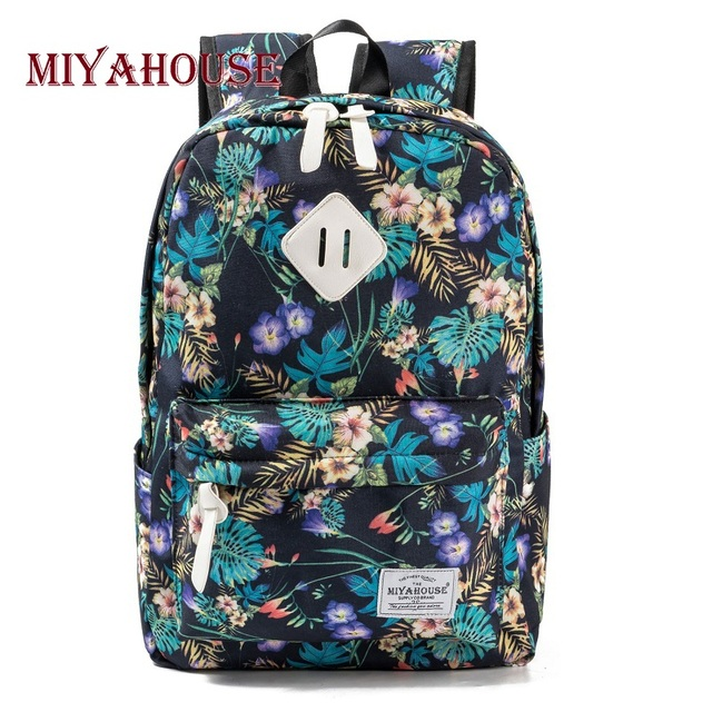 Miyahouse Preppy Style Female Backpacks Vintage Floral Print Bookbags  Canvas School Bag For Teenager Girls Travel 89e3d0d2513c4