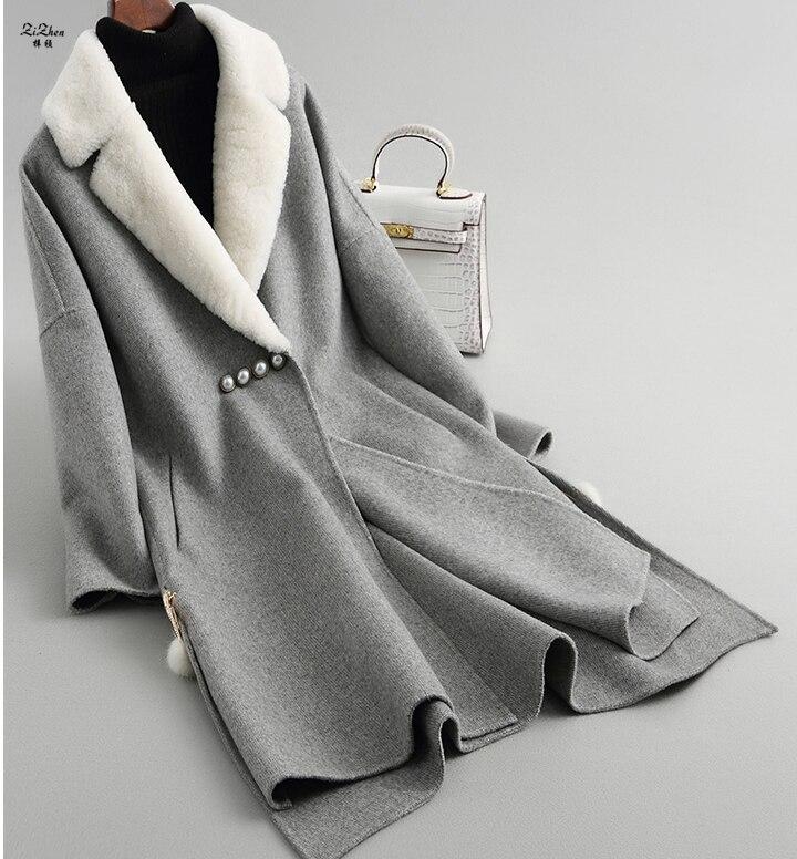 ZiZhen зима Для женщин Double Faced реальный шерсть пальто кашемир длинное пальто с натуральным ягненка меховой воротник карманов 180717 1