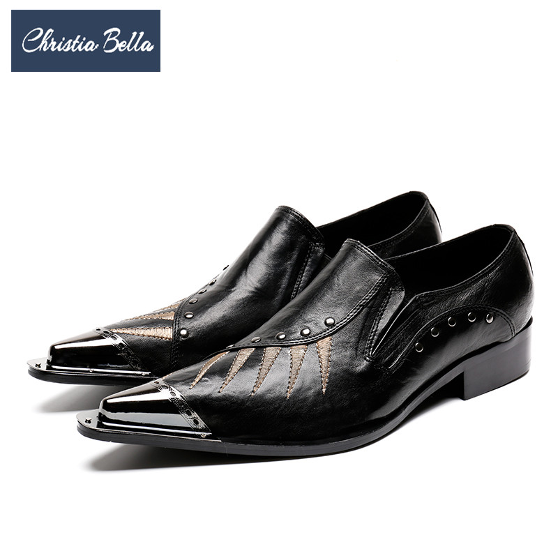 Christia Bella Fashion Genuine Leather Men Dress Shoes Designer Men Business Formal Shoes Pointed Toe Gentleman Shoes Big Size