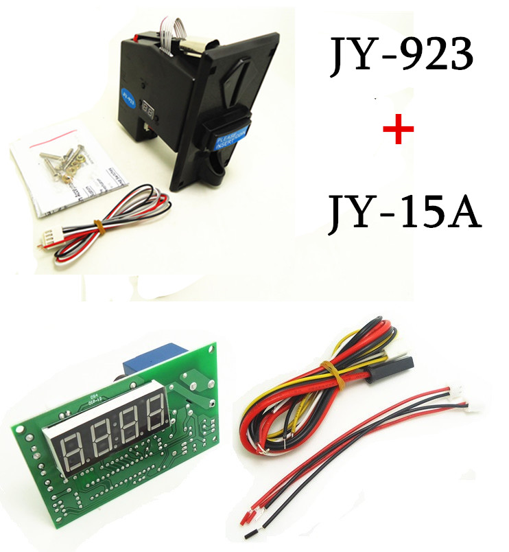 1 KIT of JY-923+JY-15A coin acceptor  with timer board coin operated time control device for cafe kiosk for 1-3 kinds of coins цифровая видеокамера jvc jy hm360e jy hm360e