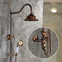 FLG New Arrival Bathroom Retro Shower Set Faucet With Shower Head Brushed Bronze Mixer Tap Single