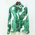 Camisa ocasional de Las Mujeres 2017 Principios de la Primavera Verano Nuevo Estilo Europeo de La Manera Hojas De Plátano Print Animal Decoración Camisa Verde
