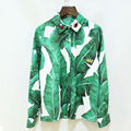Casual Shirt Women 2017 Early Spring Summer New Fashion European Style Plantain Leaves Print Animal Decoration Green Shirt