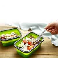 4PCS/Set Foldable Silicone Lunch dishware Tableware Portable Food Container Freezing/Heating Avaliable 350/500/800/1200ml TN