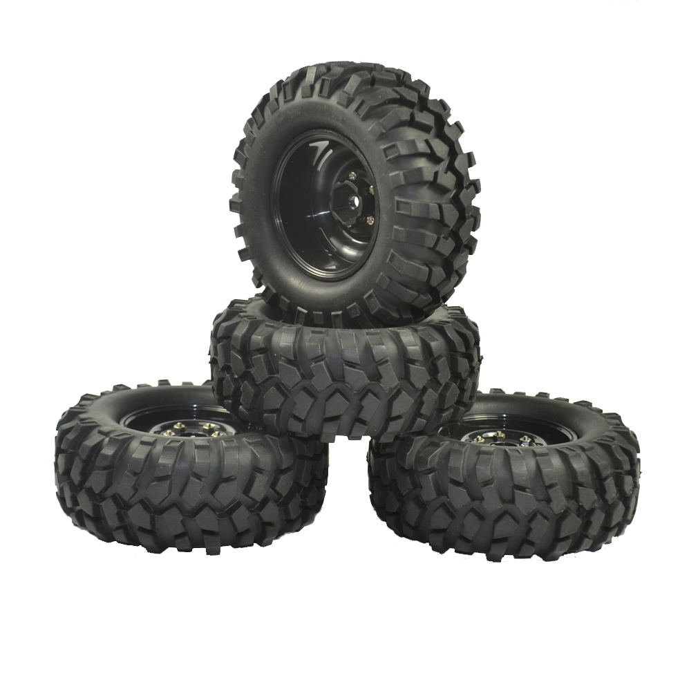 4PCS 96mm Tyre RC 1/10 Off-Road Car Beach Rock Crawler Tires Wheels Rim mxfans rc 1 10 2 2 crawler car inflatable tires black alloy beadlock pack of 4