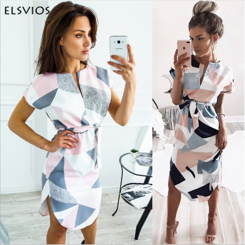 ELSVIOS 2018 Sexy V-Neck Printed Section Dress Women Summer Beach Dress Casual Short Sleeve Dresses With Belt Vestidos 6 colors