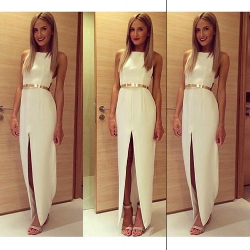 2017 Summer Side Slit White Satin Evening Dress Gold Belt Boat Neck