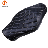 Black Universal Motorcycle Seats Scooter Cafe Racer Seat Cover Driver Rear Passenger Seats MTB For Harley