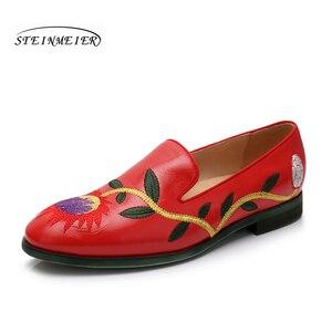 Image 1 - Yinzo mieszkania damskie Oxford buty kobieta prawdziwej skóry slipon panie Brogues Vintage obuwie obuwie damskie 2020