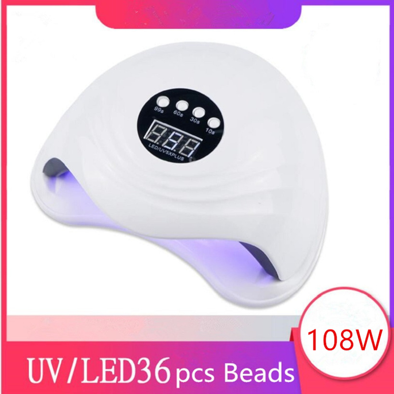 108W SUN5X Plus UV Lamp for Nails LED Nail dryer 10/30/60S Botton Timer Fast Curing UV Gel Polish Auto Sensing Nail Lamp-in Nail Dryers from Beauty & Health