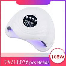 Zon 5Xplus Uv Led Lamp Voor Nagels 108W 36Pcs Leds Lamp Kralen Zon Licht Voor Manicure Curing gel Nail Dryer Drogen Gel Vernis
