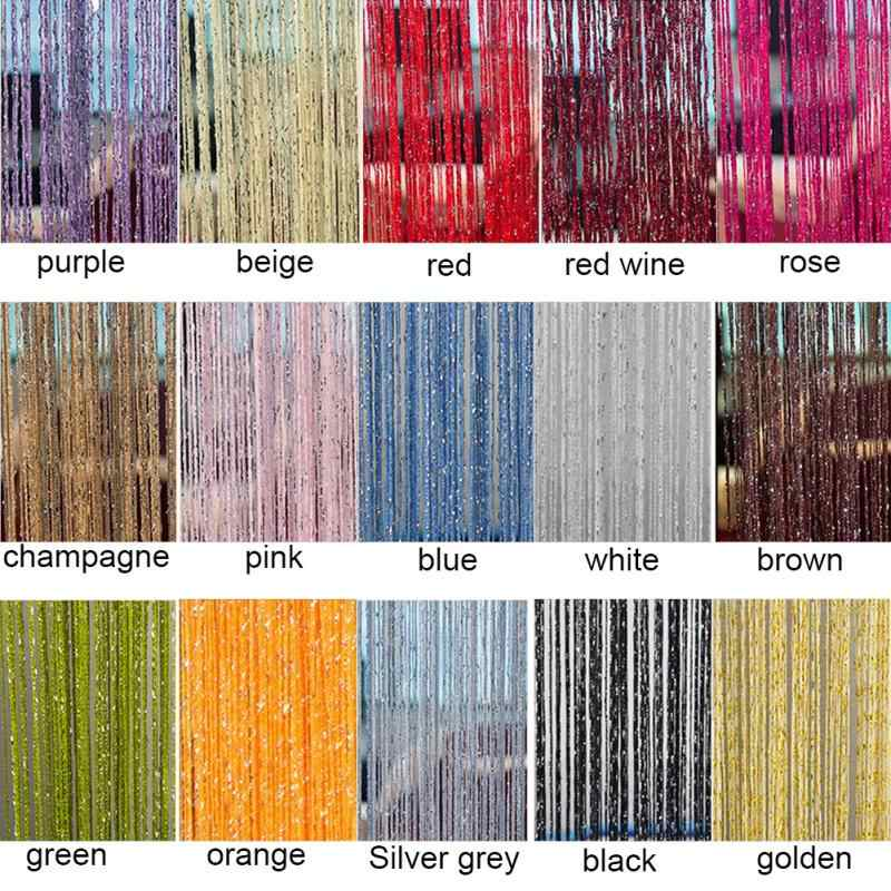 200x100 cm Modern Cute Flash Line Shiny Tassel String Door Curtain Window Room Divider Curtain Valance Home Decoration