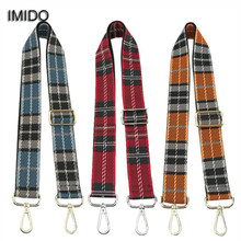 IMIDO 3.8cm Wide Canvas replacement shoulder straps for bags belt handles women handbag DIY bags accessories parts Plaid STP113(China)