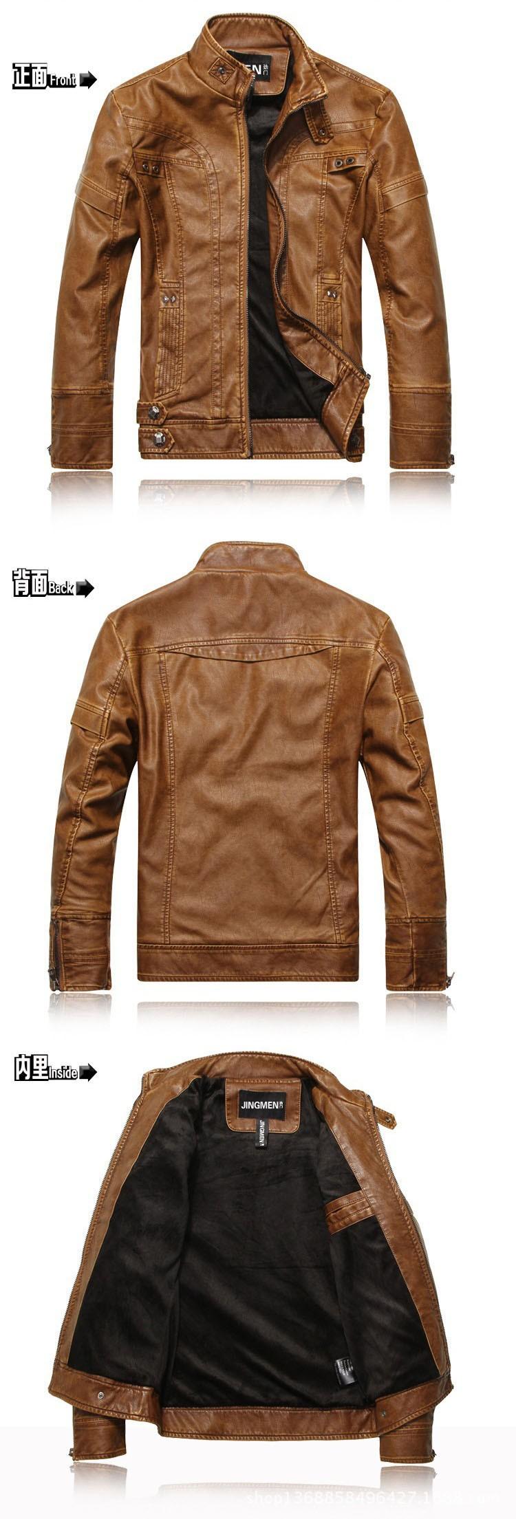 PU Leather Jacket Men 2016 Fall Winter Fashion Faux Fur Bomber Motercycle Biker Jacket High Quality Plus Velvet Casual Outwear (7)