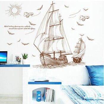 Kreatywny sylwetka szkic żaglówka mewa naklejki ścienne wystrój domu badania TV Sofa tle plakat pcv brązowy mural artystyczny tapety