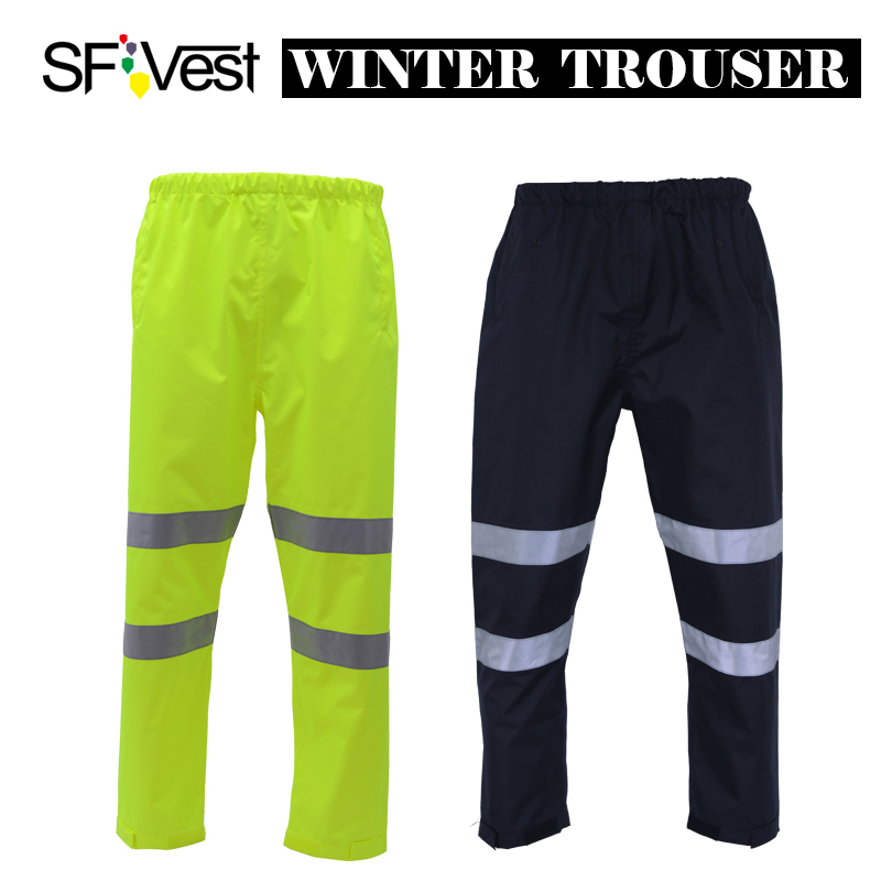 SFvest High visibility neon yellow winter thermal rain trousers workwear winter warm trousers for men free shipping