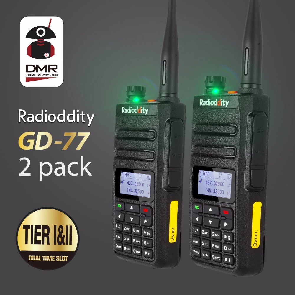 2 pcs Radioddity GD-77 Dual Band Dual Slot di Tempo DMR Digitale Analogico Two Way Radio 136-174 400- 470 MHz Prosciutto Walkie Talkie con Cavo